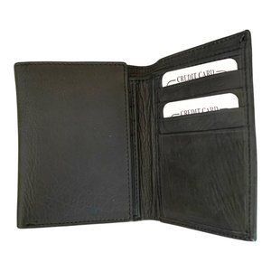 Men's Black Leather trifold Wallet - Brand New